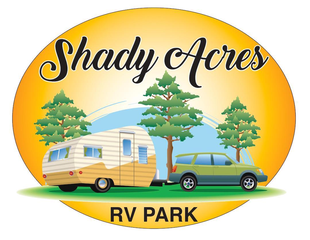 Shady Acres Gated RV Park Logo. A sun and trees in the background with a green suv and a travel trailer